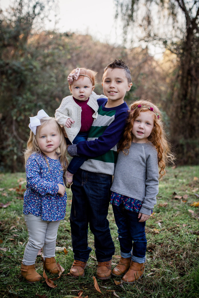 Four kiddos with red hair by Knoxville Wedding Photographer, Amanda May Photos.