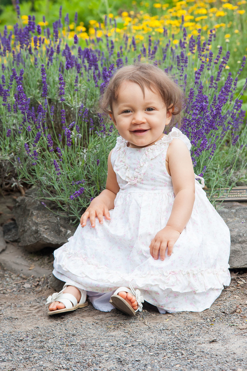 Baby Portrait with flowers at arboretum-31