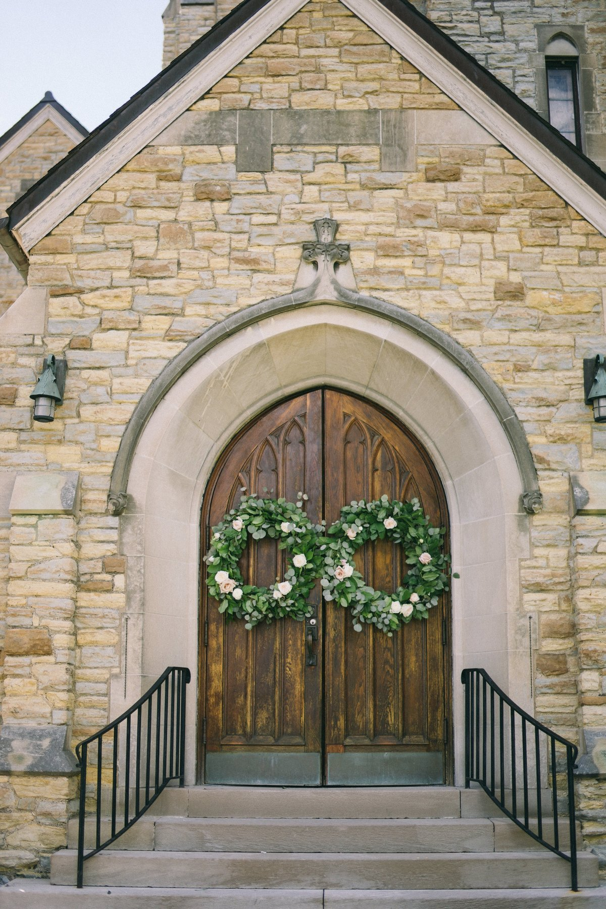 floral wreaths on doors