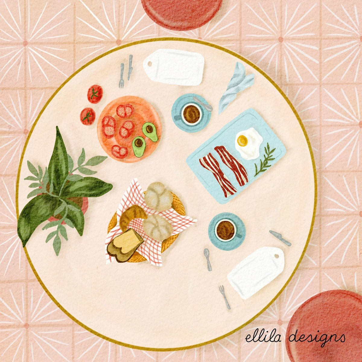 Brunch table illustration Ellila Designs