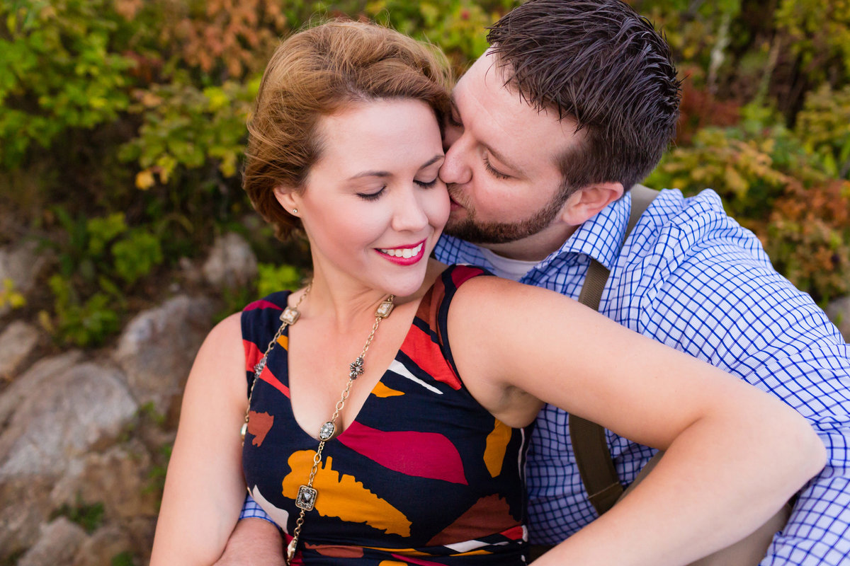 Kennebunkport Maine serves as the backdrop for this fall engagement session on the rocks