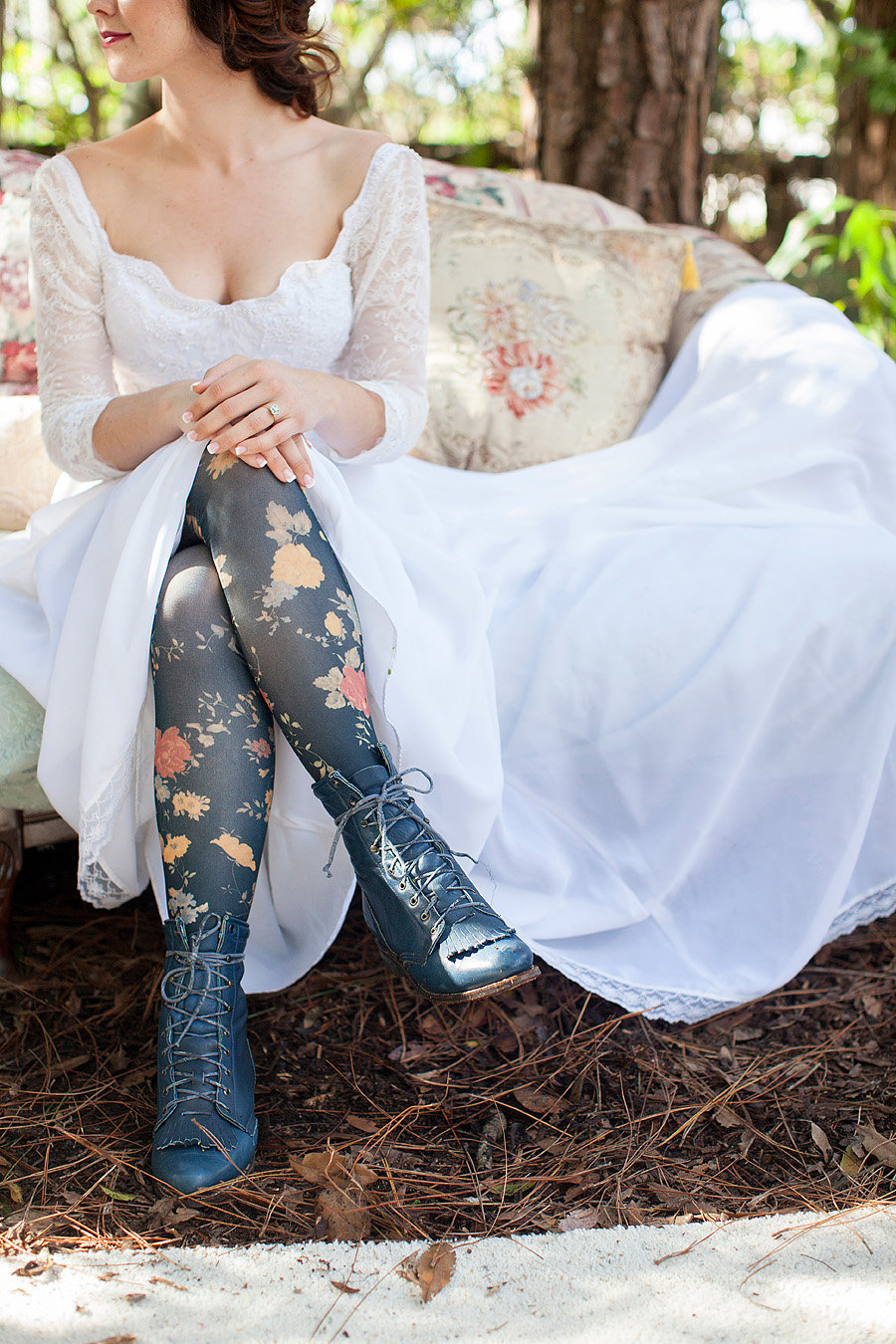 floral tights on a bride