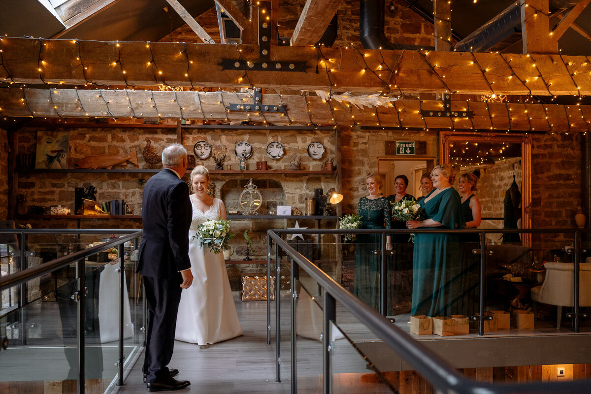 Bridal party in teh Cart Barn, Wharfedale Grange