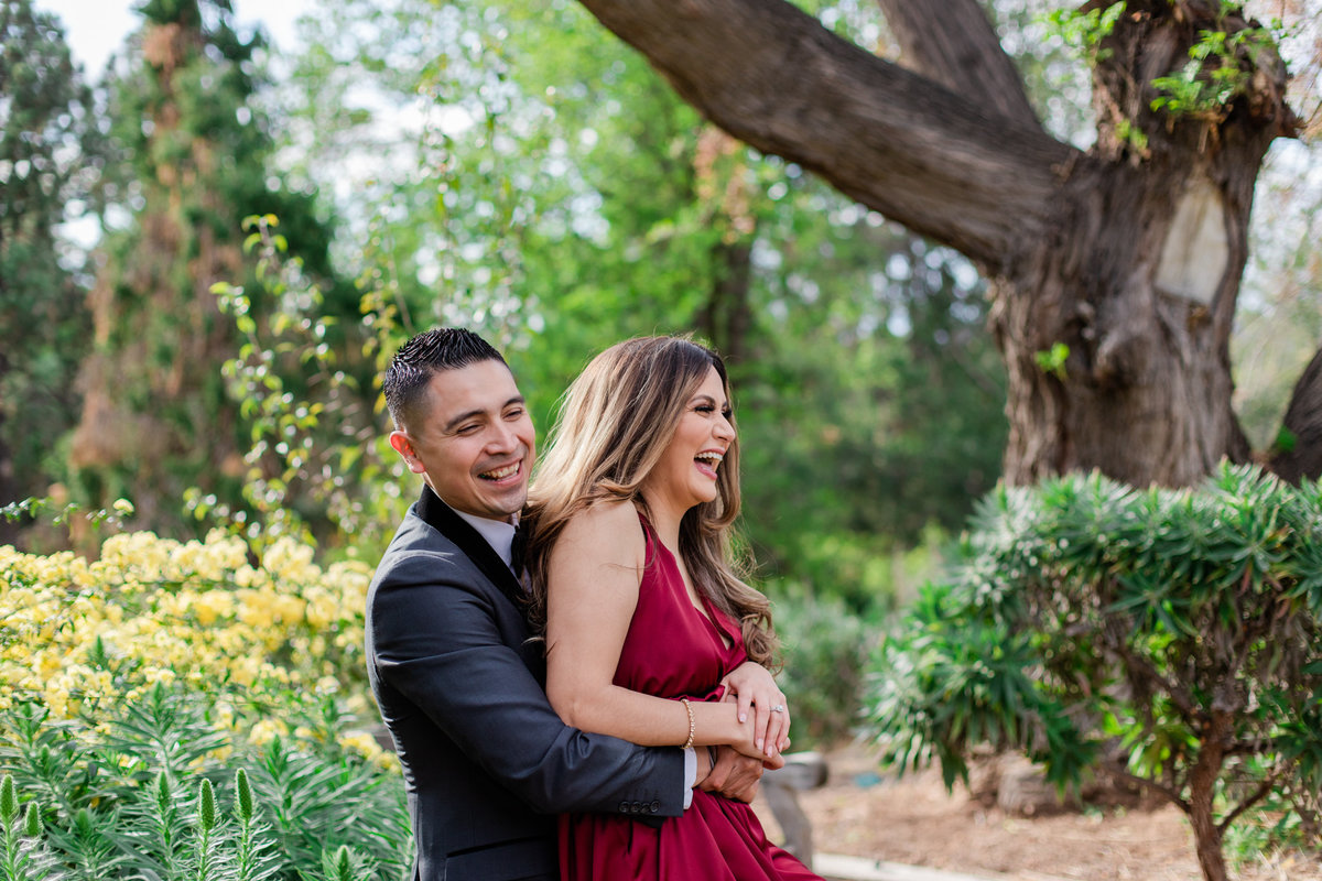 UC Riverside Botanical Gardens, Engagement Photography, Riverside Phototgrapher, Garden Engagement, Couple Photography, Red Dress-40