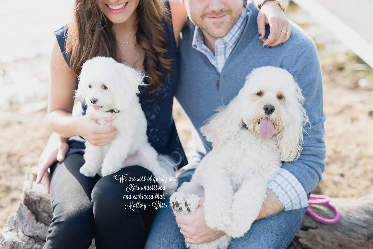 lake house engagement photos with dogs
