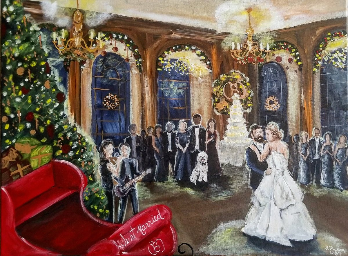 Live painting of a Christmas wedding first dance at the Baltimore Country Club in Baltimore Maryland