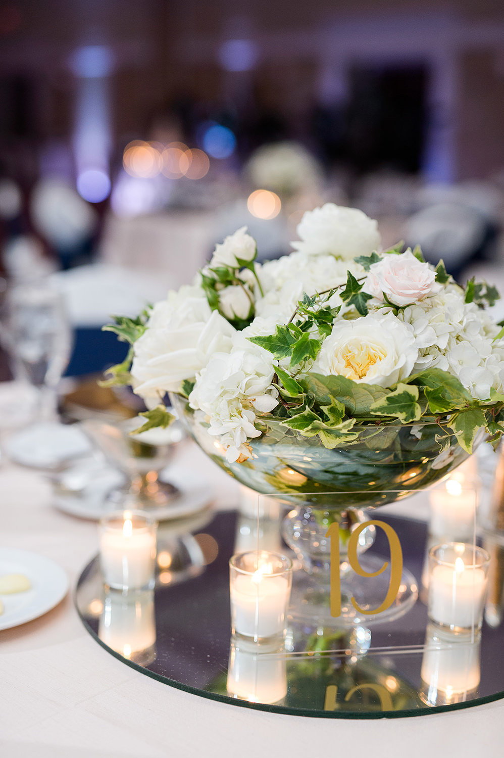 reception table at blue and cream wedding