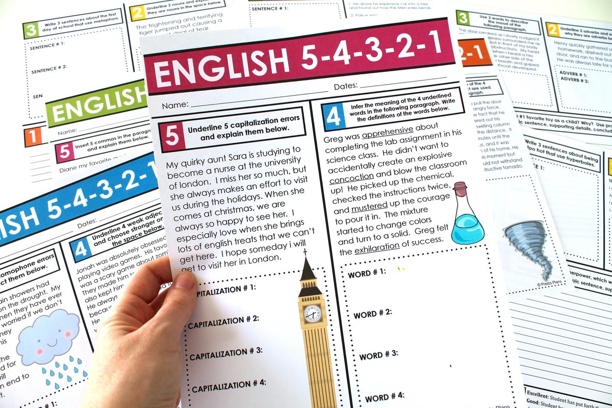 A hand holds an English bell-ringer activity sheet for middle and high school English Language Arts that teaches grammar, vocabulary, writing, parts of speech, and word choice.