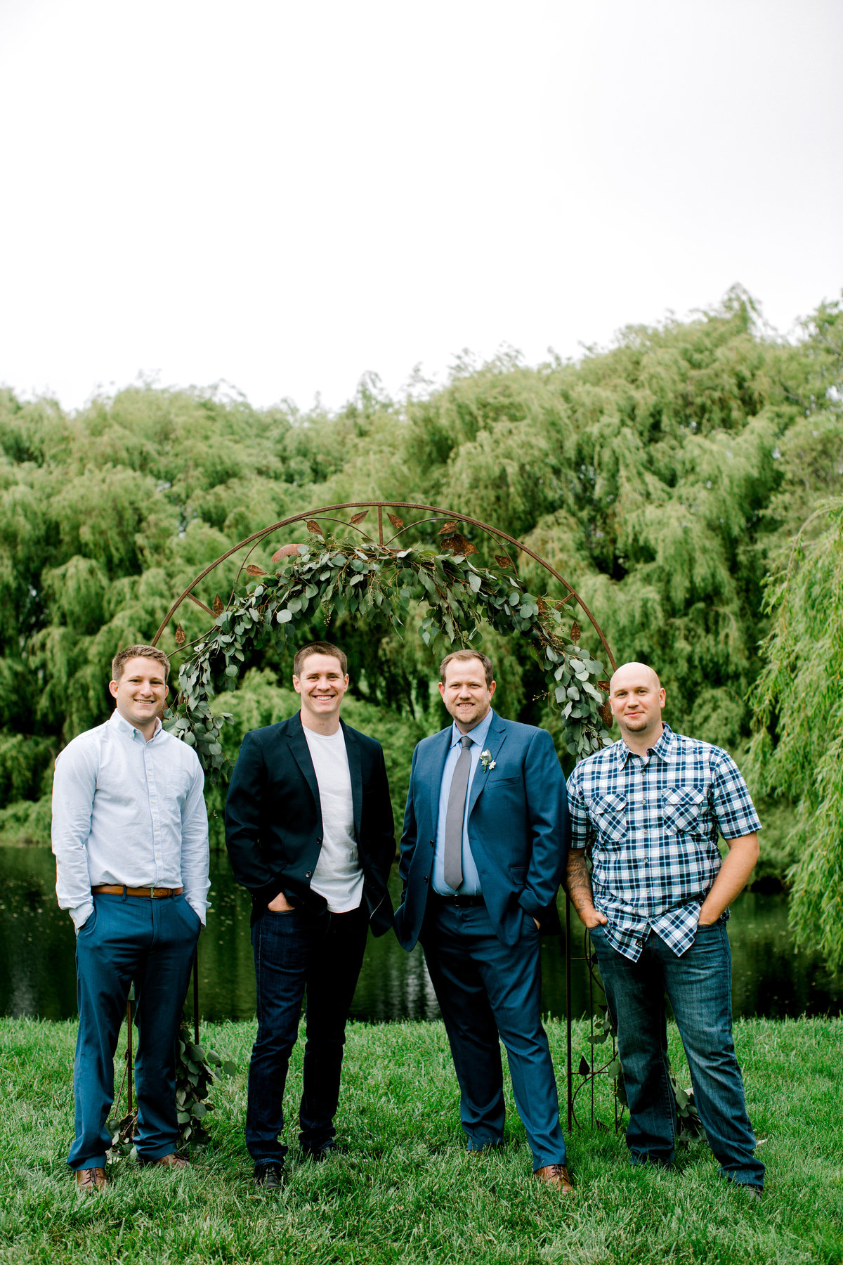 Groom and his friends at Olympias Valley Estate in Petaluma California
