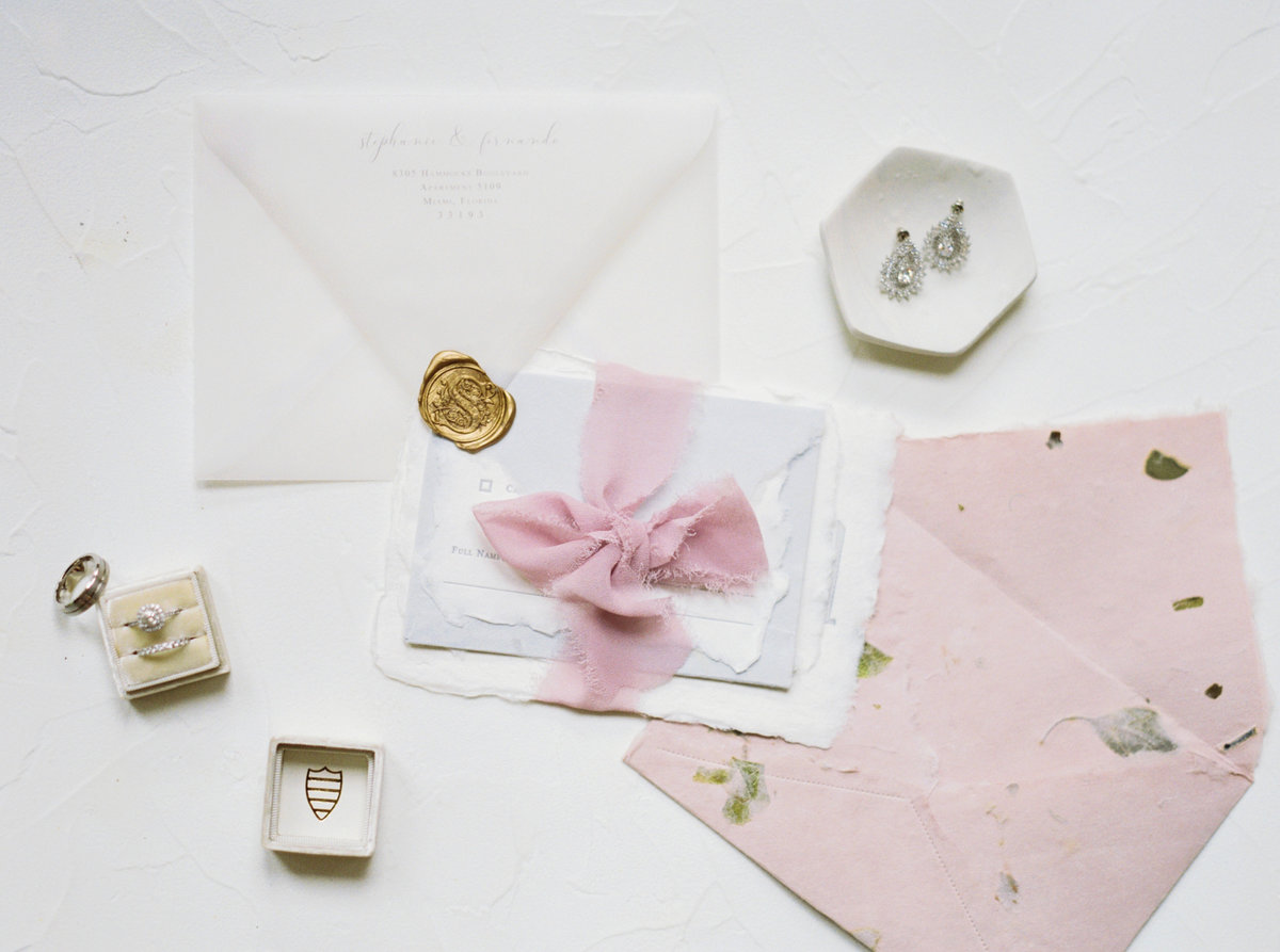 Flat Lay Wedding invitation, torn edges and raw paper, mrs. box