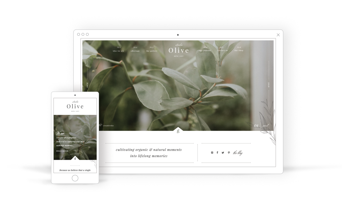 Natural and Sophisticated Website Template for Creatives