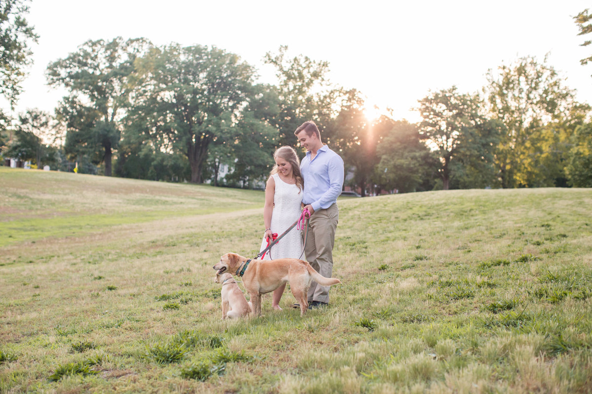 couple and their puppies at richmond engagement session