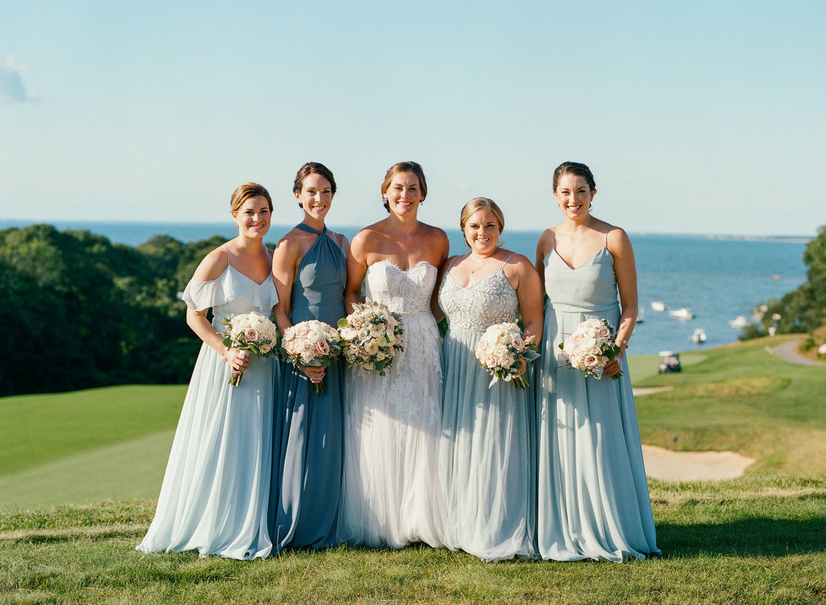 Bridesmaids water colored dresses