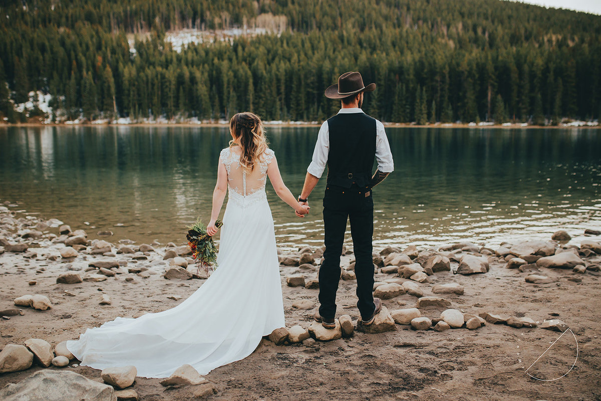wedding portraits at Two Jack Lake, Banff National Park by top Banff Wedding Photographer