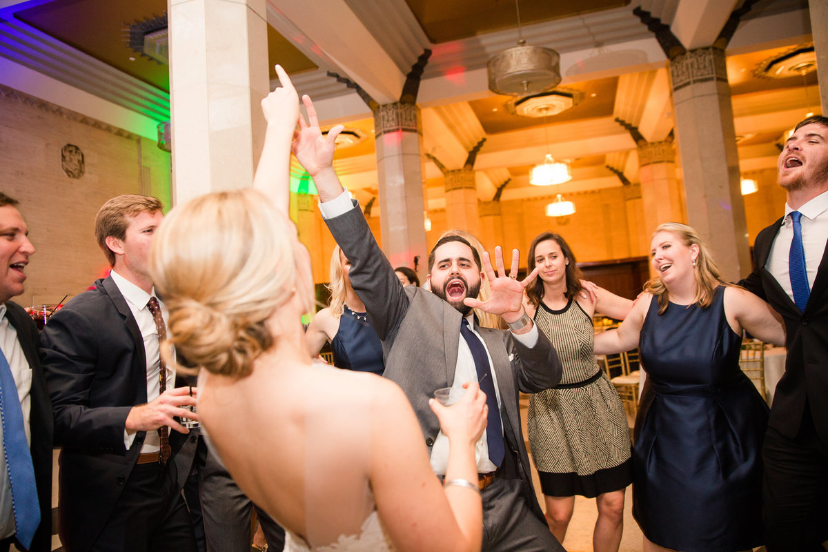 Groom and Bride Partying Carlisle Room
