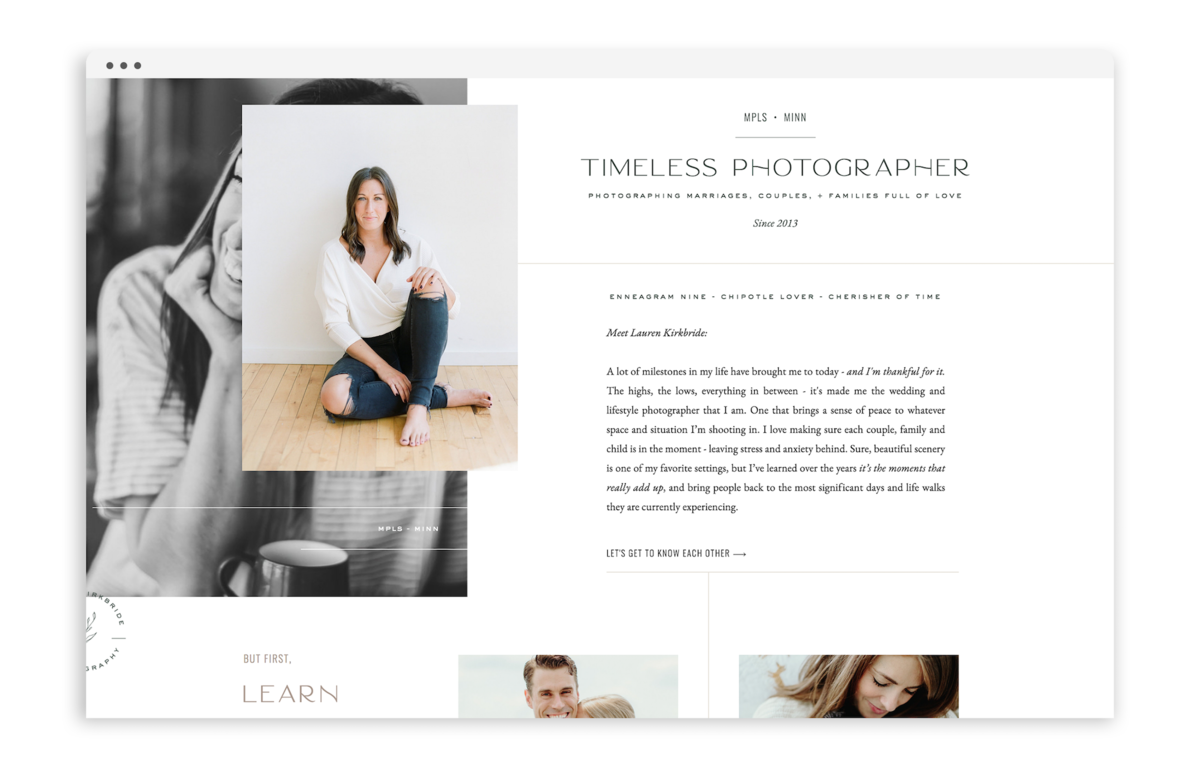 Lauren Kirkbride by With Grace and Gold - Best Showit Design Designs Designer Designers Theme Themes Template Templates Web Website Websites for Photographers Creatives Small Business Owners - 2