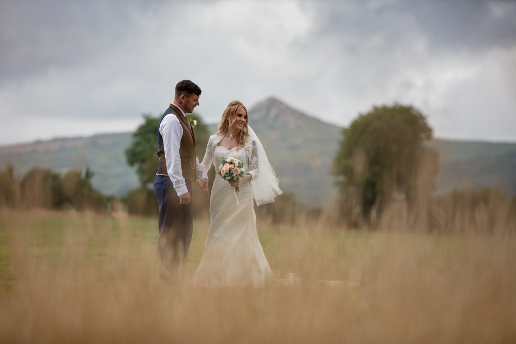 Couple with bodmin moor in the background at The Green Weddings in Cornwall elopement