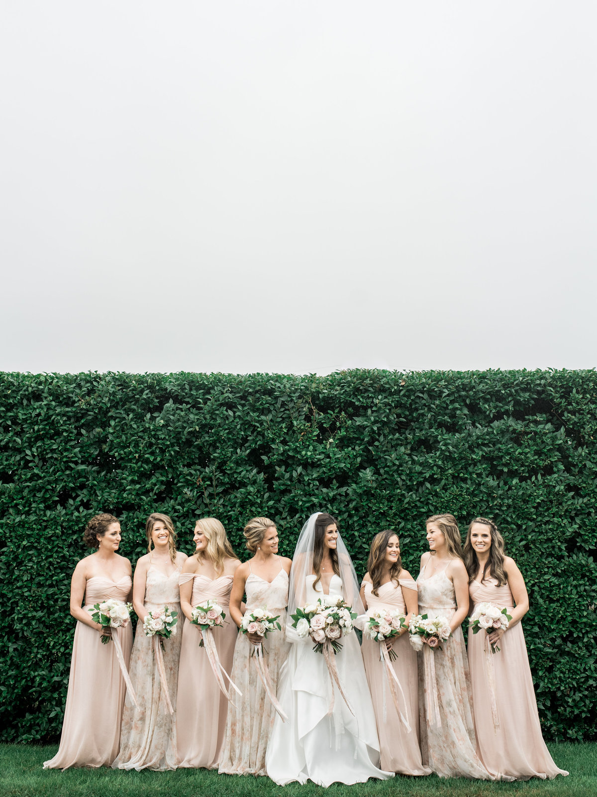 Blush bridesmaids dresses from Amsale for Cape Cod wedding weekend by top destination wedding planner Always Yours Events