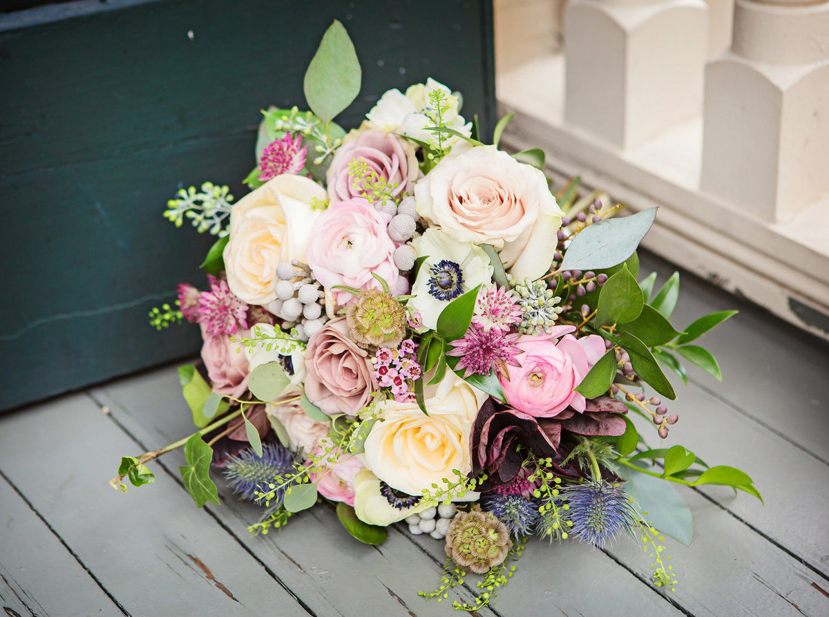 bridal bouquet on a garden district porch in new orleans