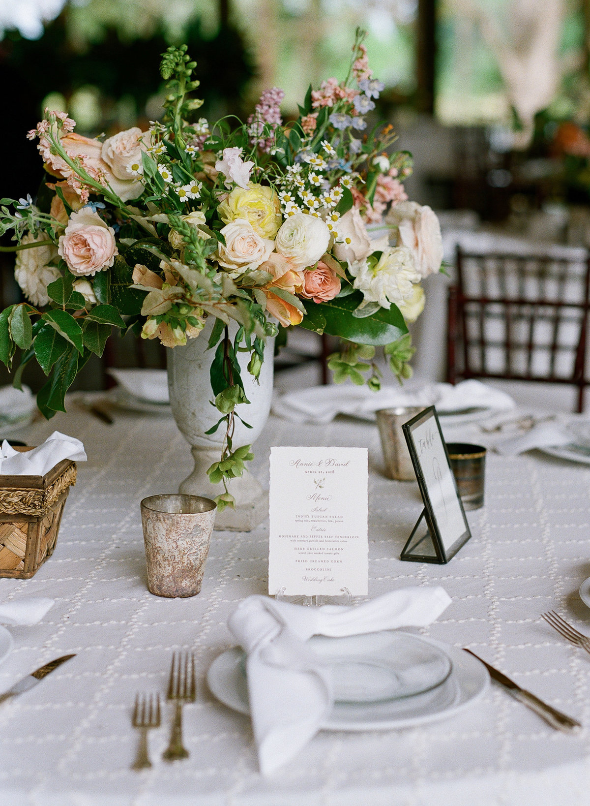 Southern Spring Garden Table Design at Wedding