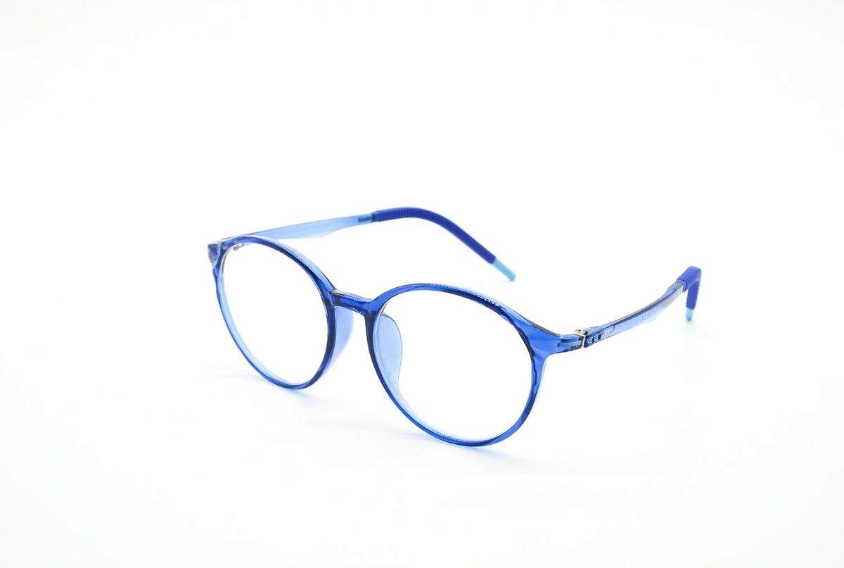 blue rimmed glasses on a white background