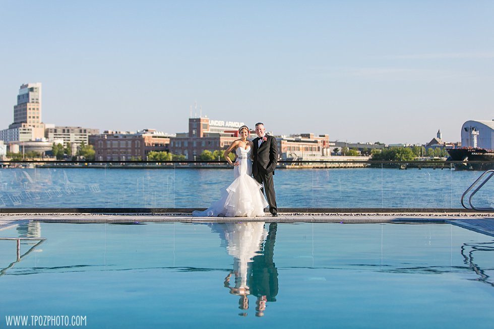 Sagamore Pendry Hotel Baltimore wedding photos by the pool  ||  tPoz Photography