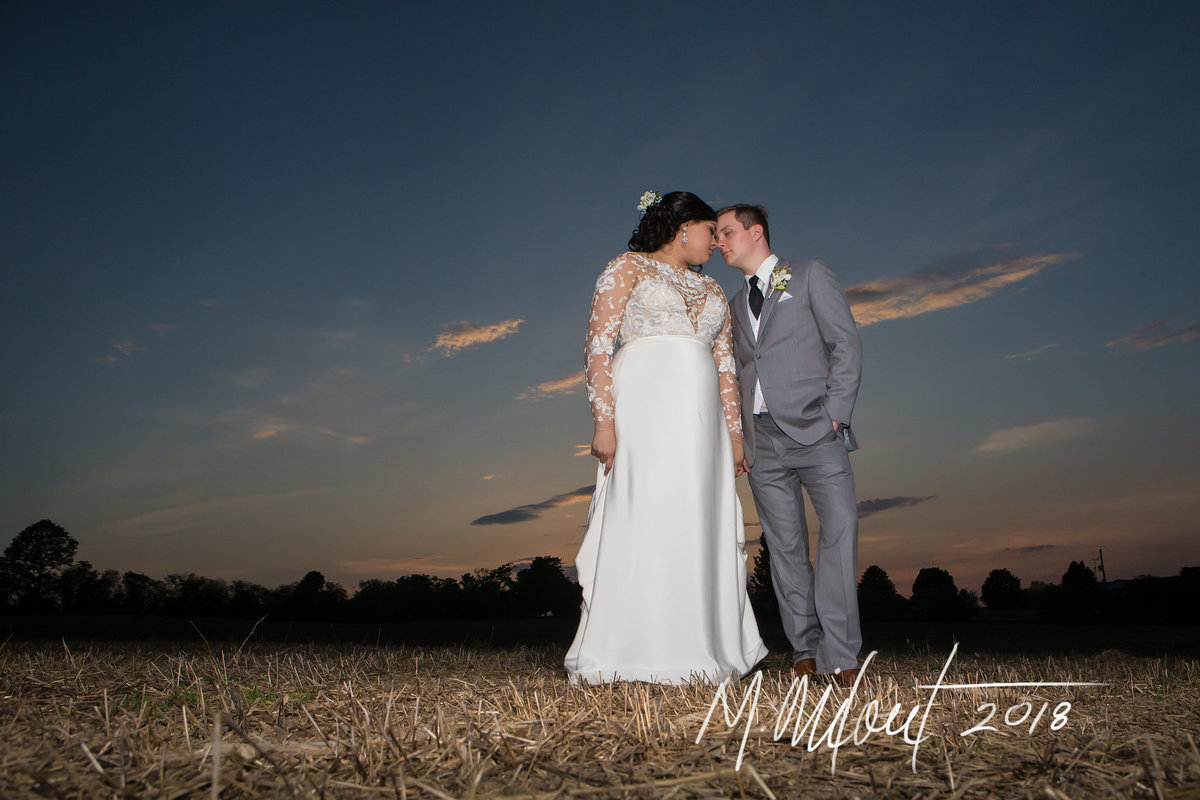 bride and groom stand in a romantic field