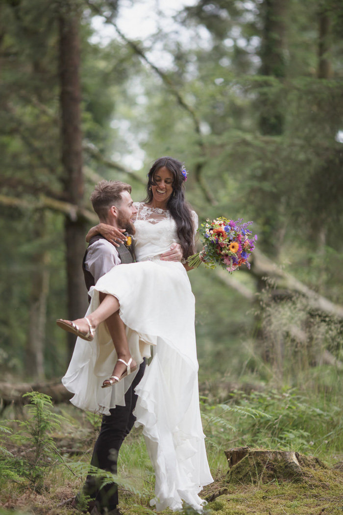 Natural wedding photo at Middle Coombe Farm Devon