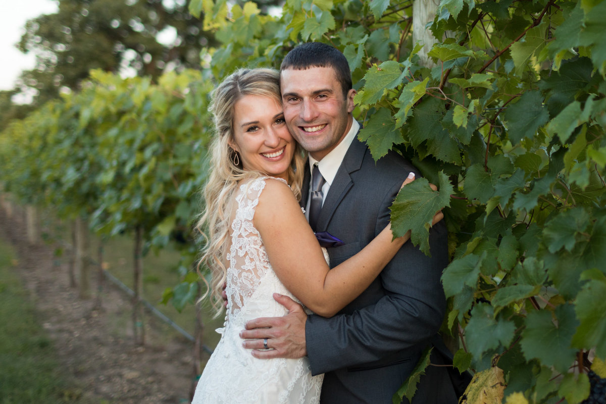 Vineyard photography of a bride and groom