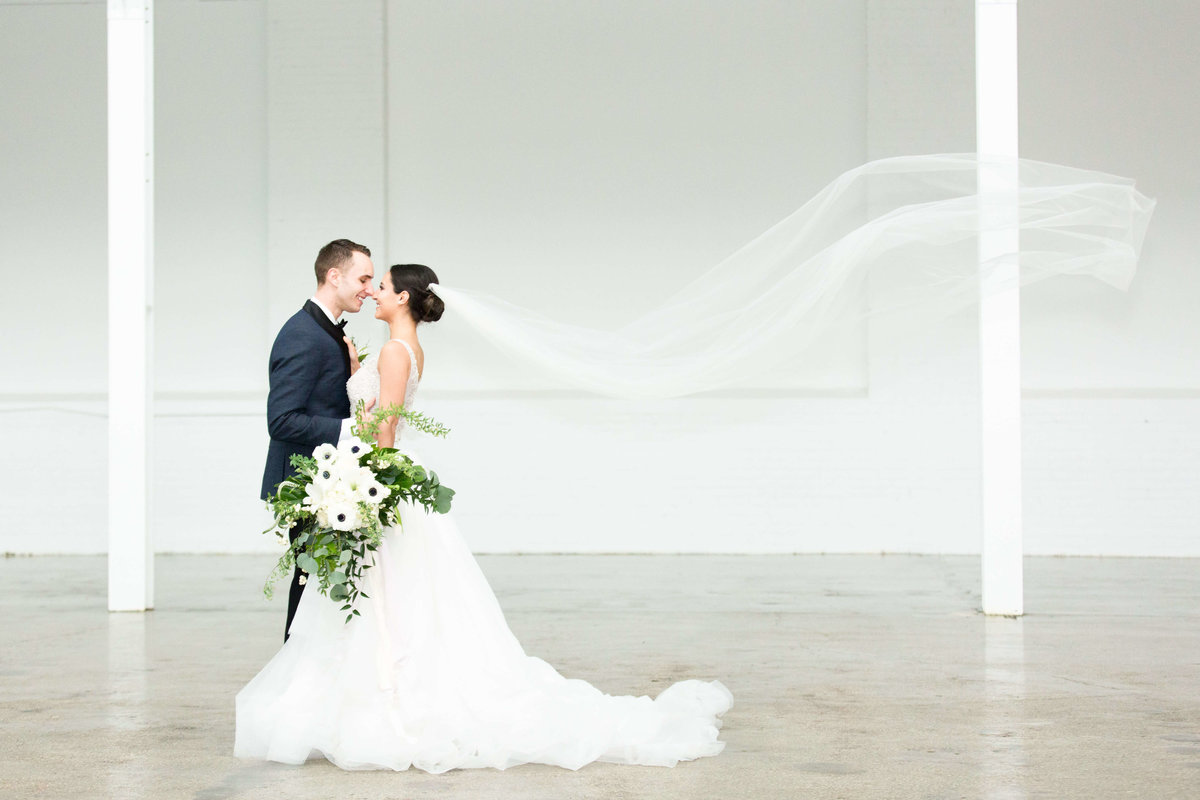 Bride and Groom at The Madison Venue in Cleveland Ohio by The Cannons Photography