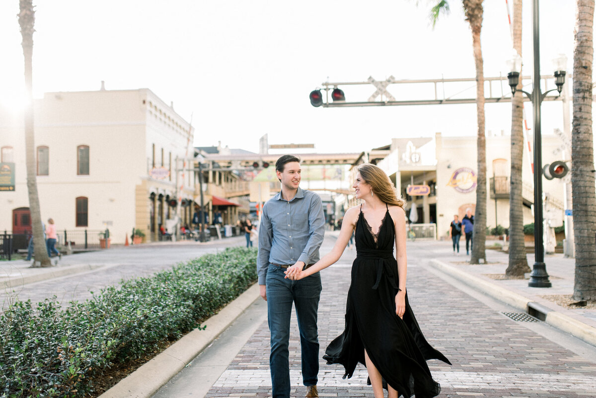 Couple walking in downtown tampa