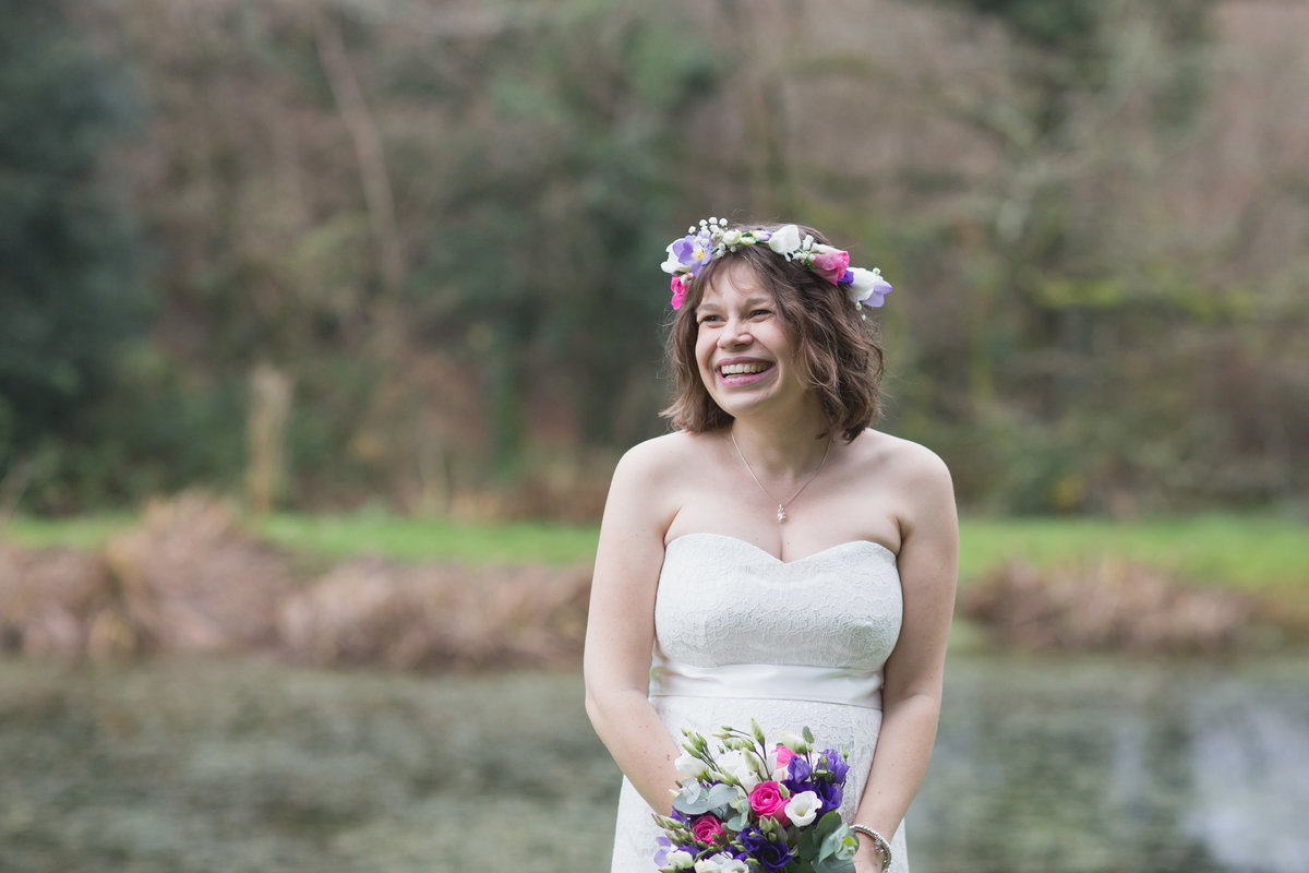 floral crown on bride in cornwall