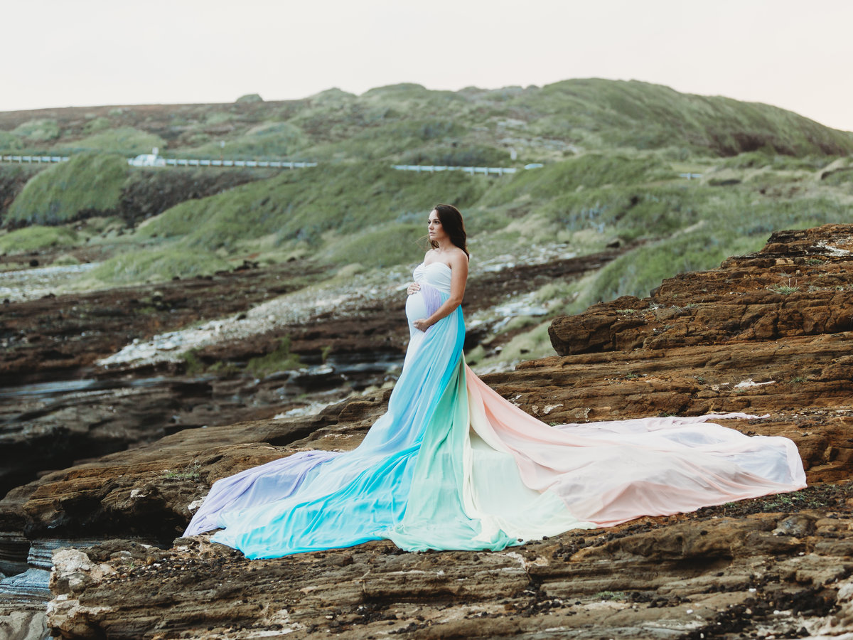 Maternity Photography Shoot - Pregnant Girl on Beach - Bellows Beach, Oahu, Hawaii - Brooke Flanagan Maternity Photographer