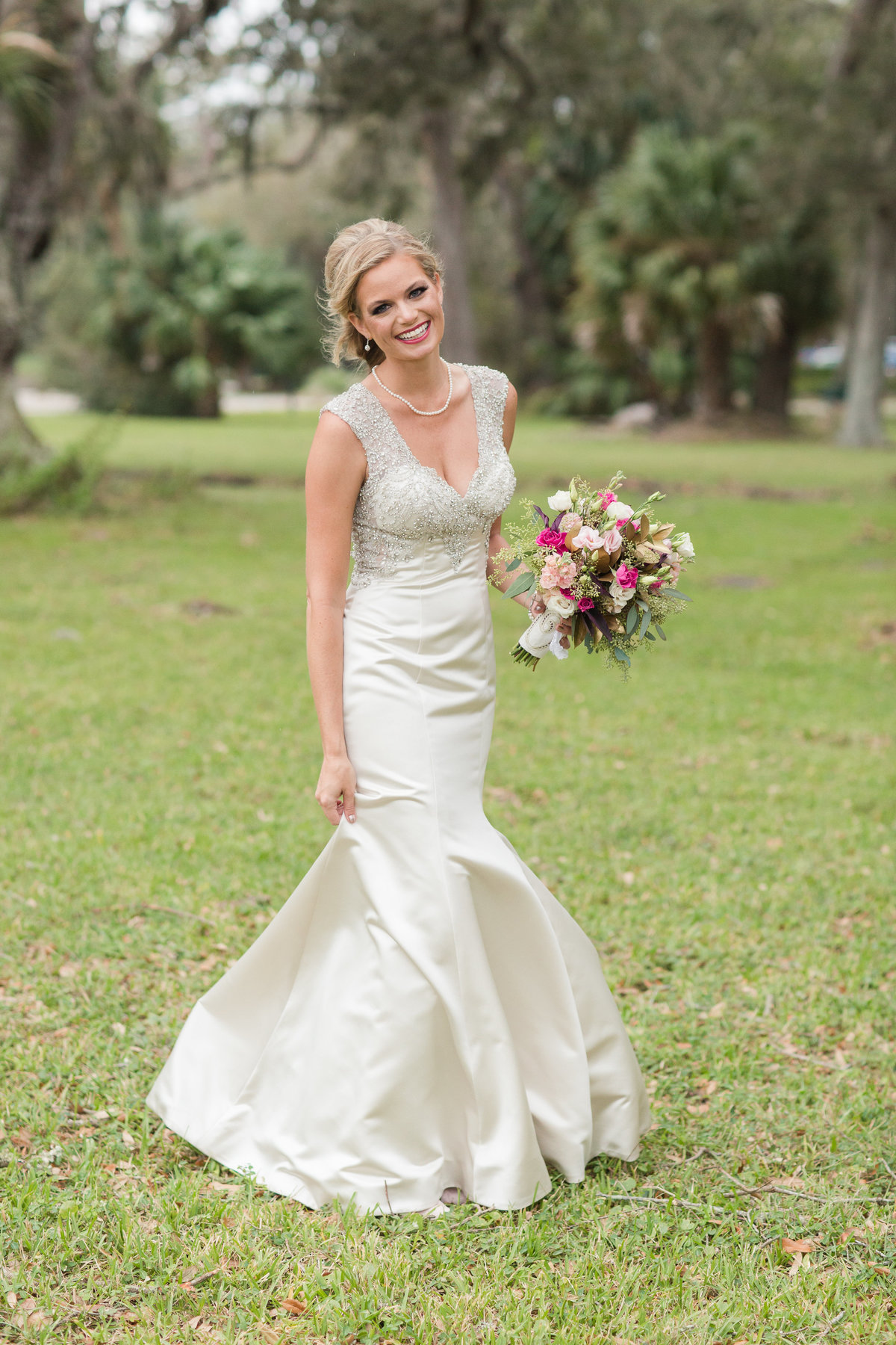 gorgeous bride in mermaid gown in Jekyll Island, GA