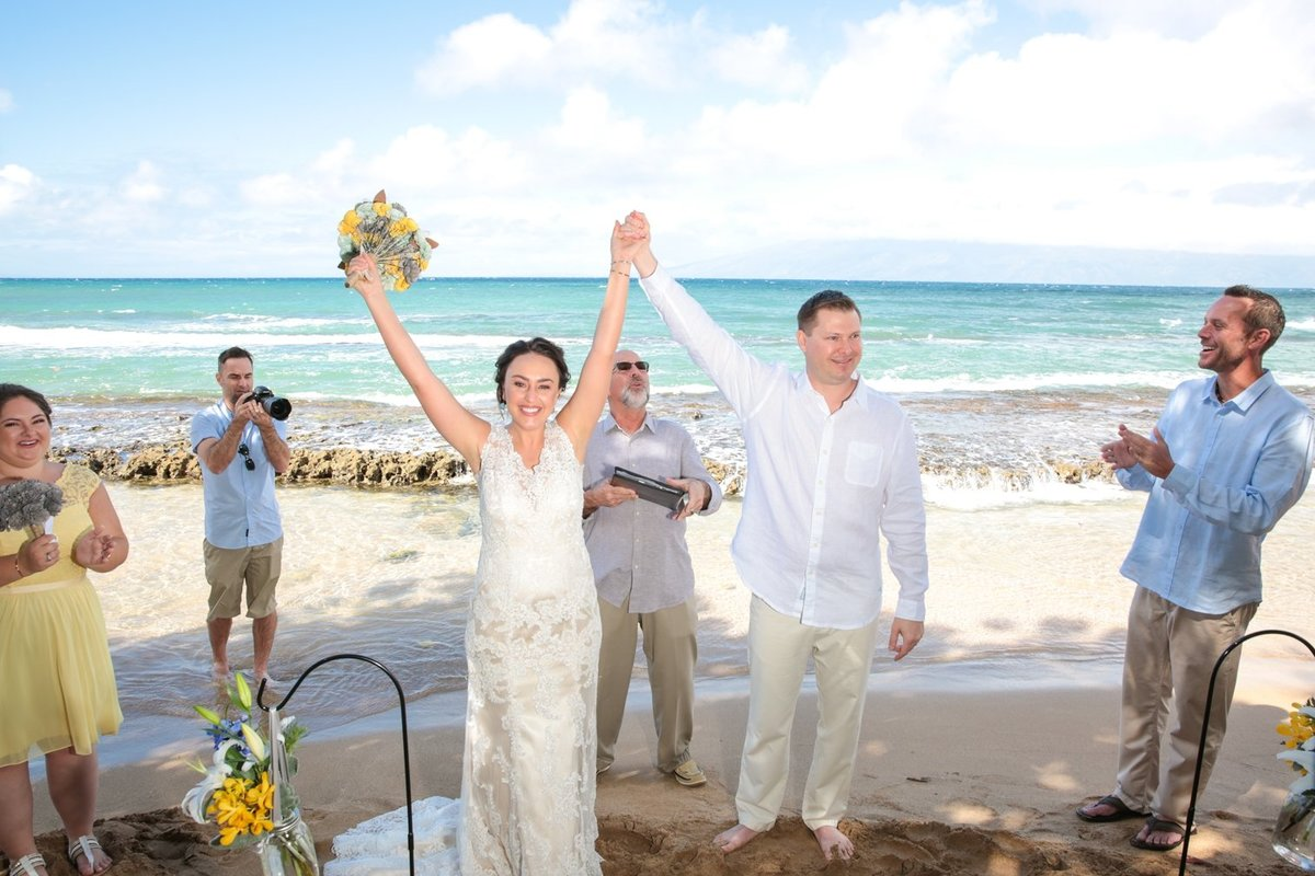 Maui Wedding Photography at the beach with bride a groom after the ceremony