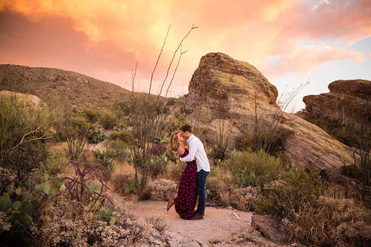 Outdoor Desert Rock Cactus Couple Sunset