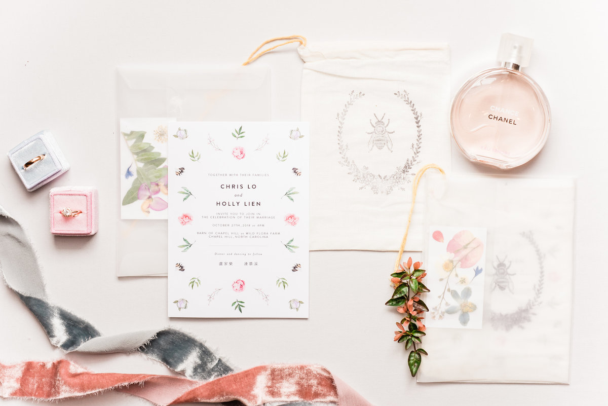 pink and white invitation suite photo