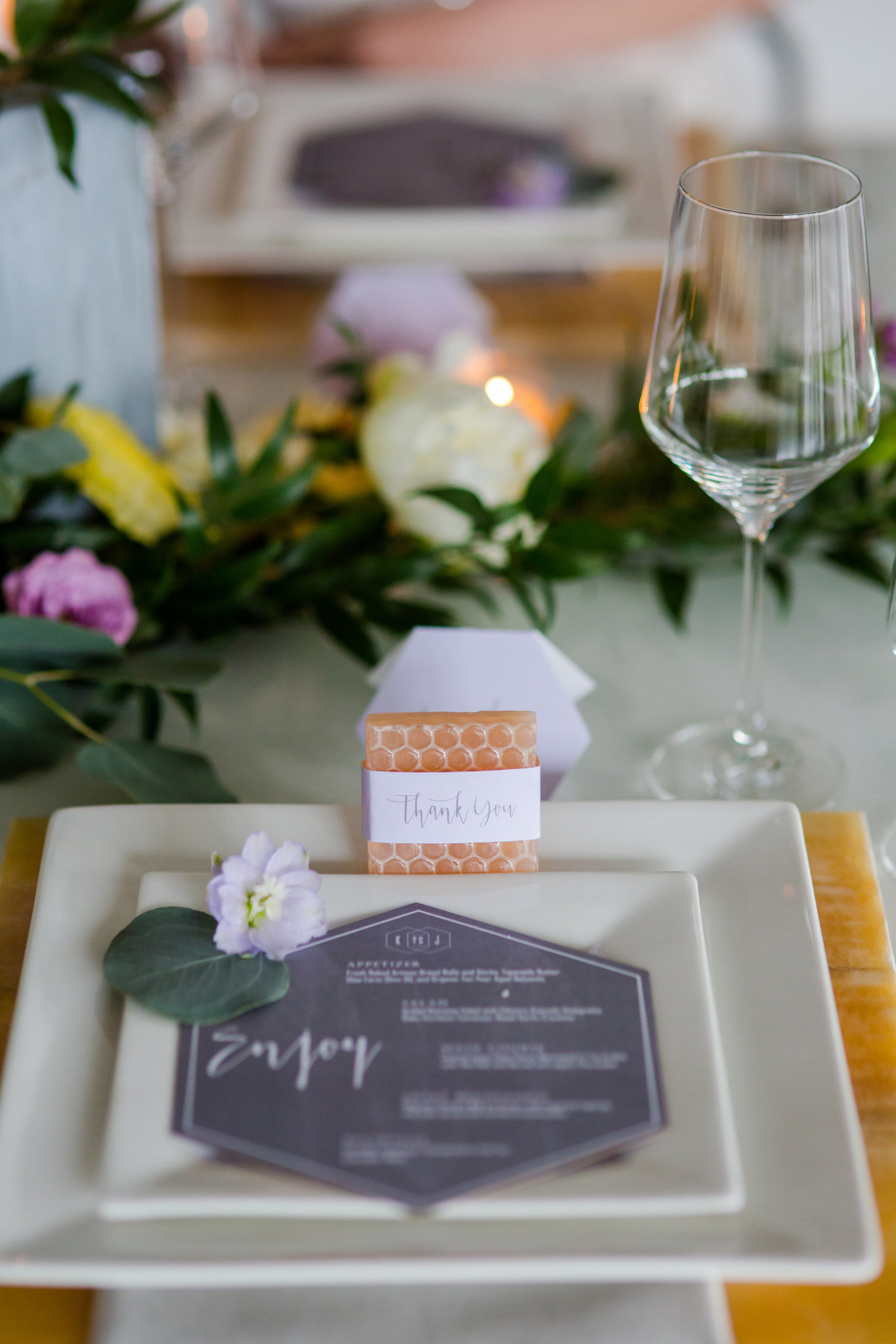 tablescape details with menu card and gift