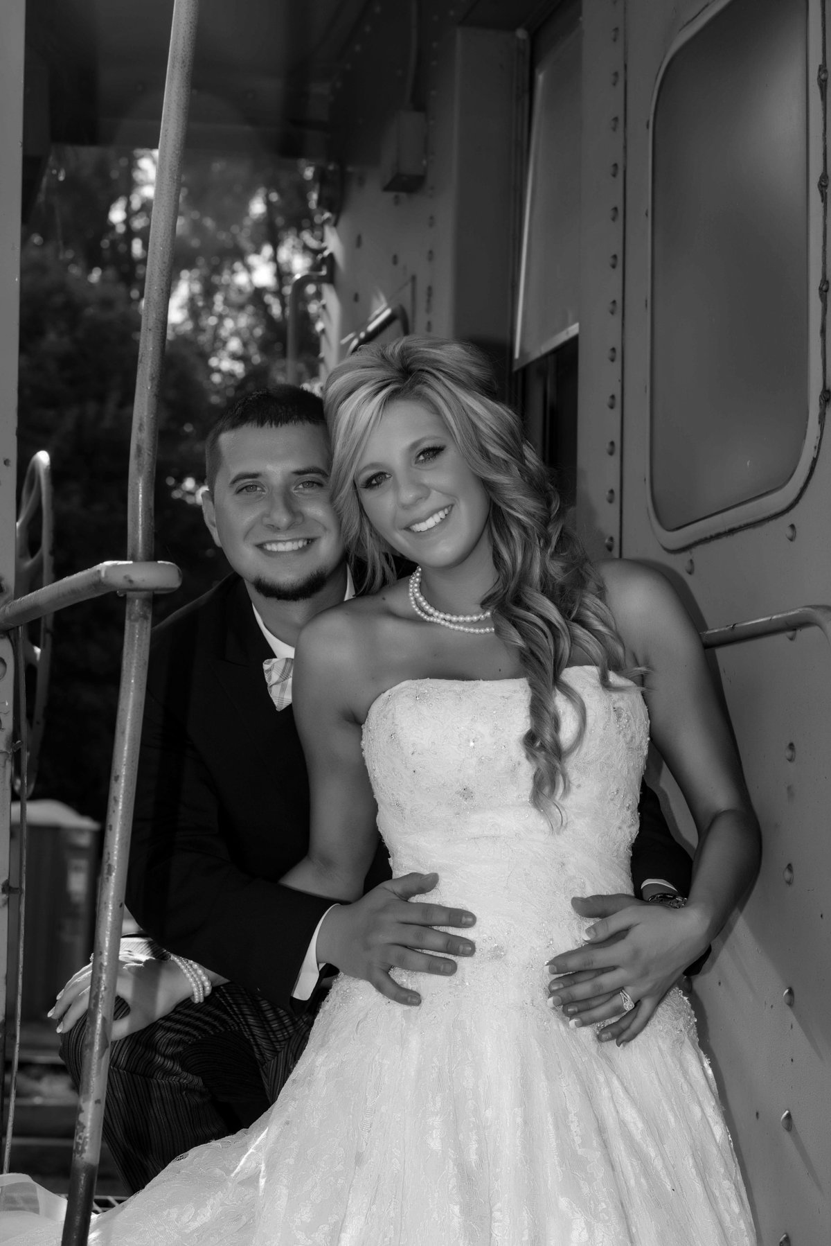 black and white  photo rail car
