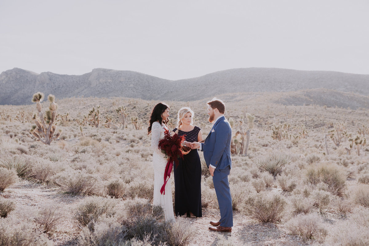 Lake Tahoe elopement photographers couple weds in the desert