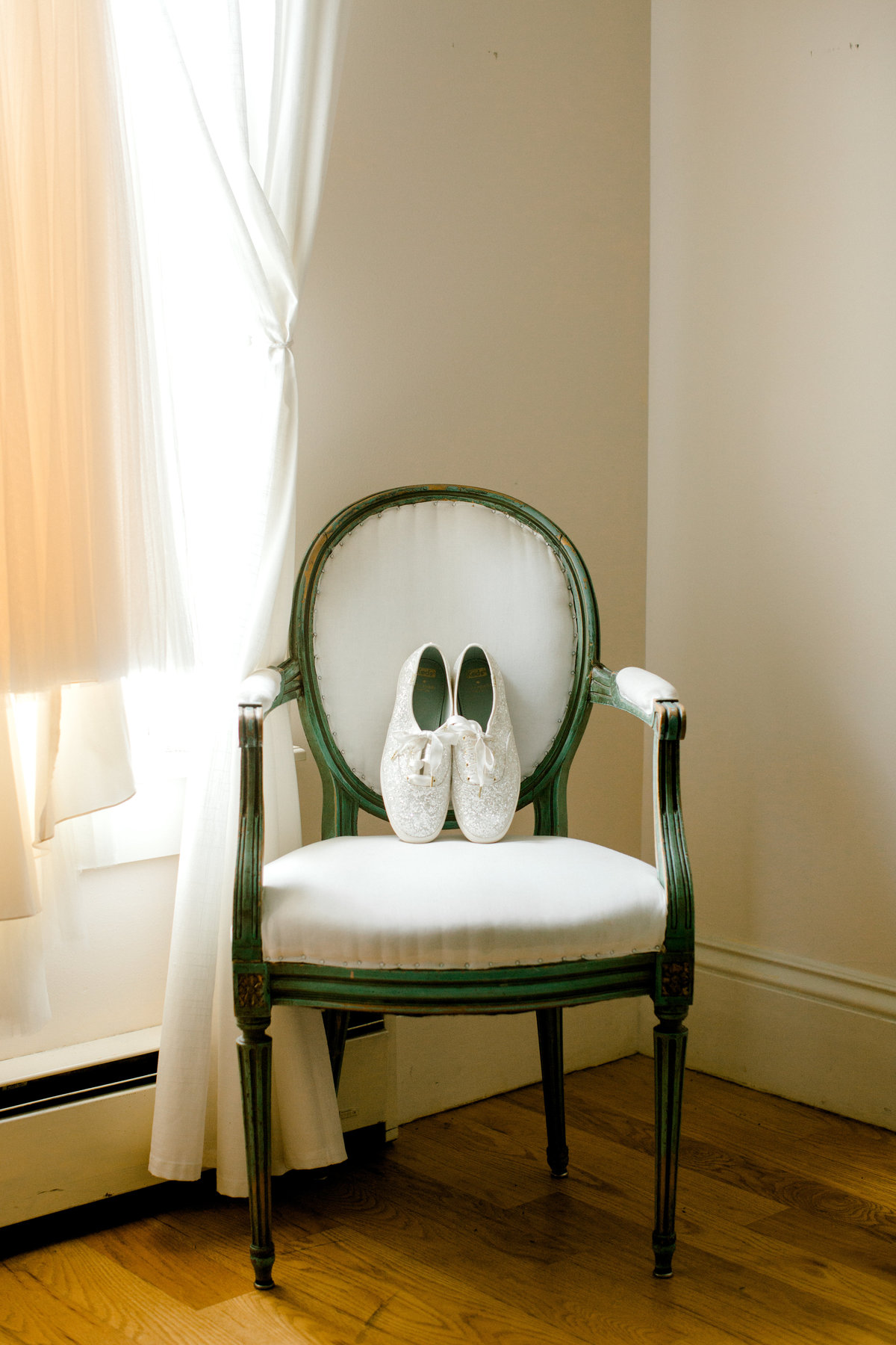 Kate spade sparkle keds on chair in bridal suite at Olympias Valley Estate in Petaluma California