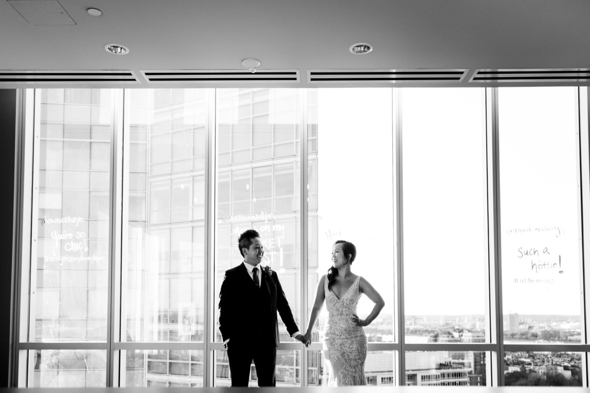 black and white portrait of wedding couple in Boston