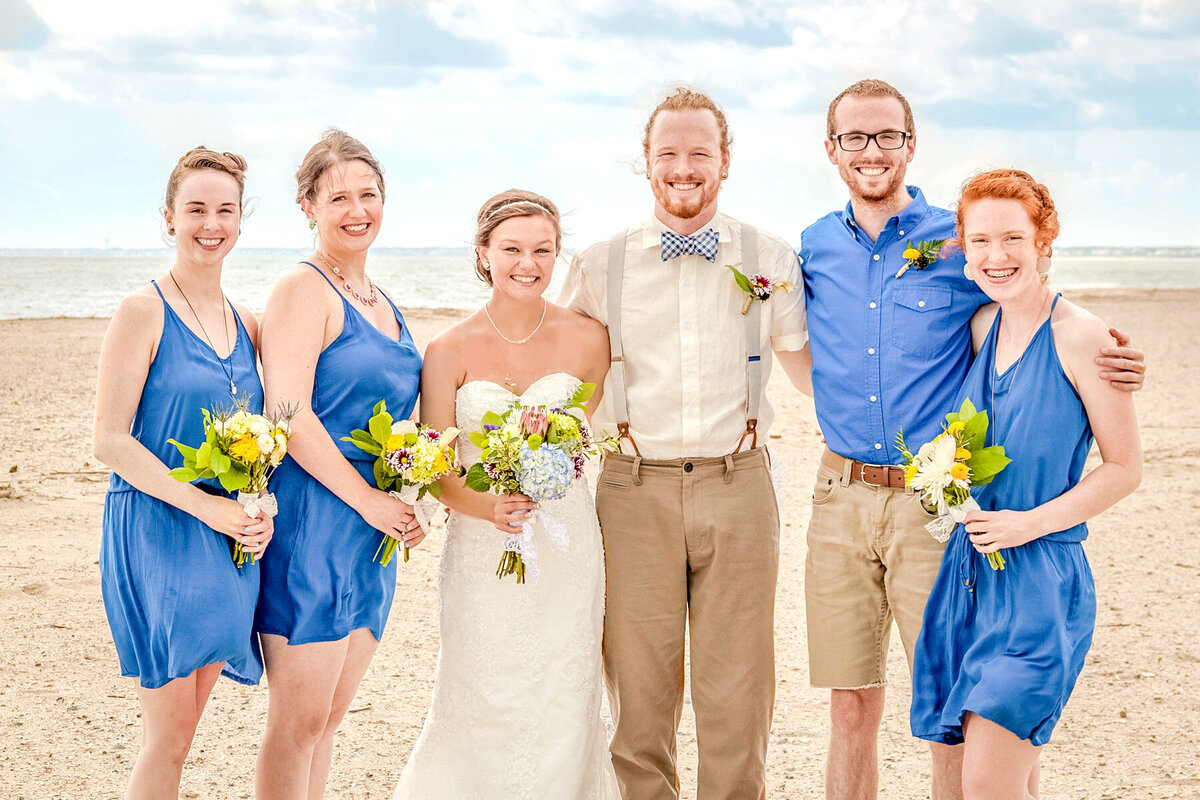 Bald Head Island NC Wedding Photography  - Anna and Ray - Bride and Groom and Bridesmaids and Brother - Wilmington Photographers Team