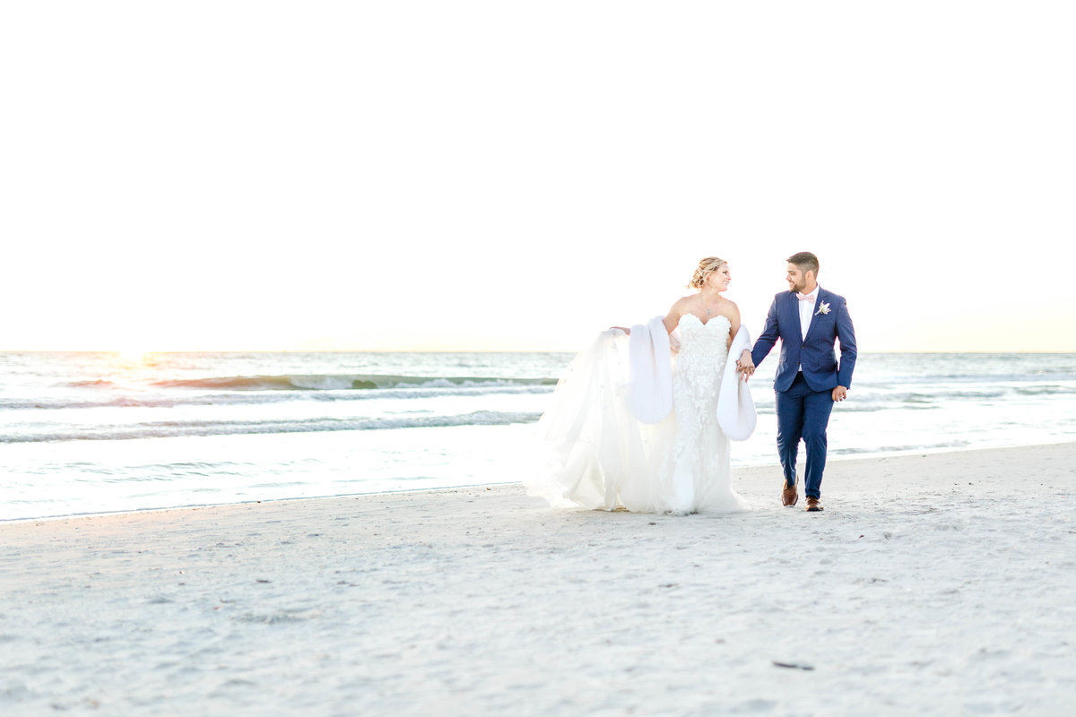 golden hour beach wedding portraits