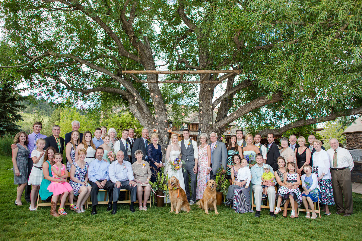 large family photo at Spruce Mountain Ranch
