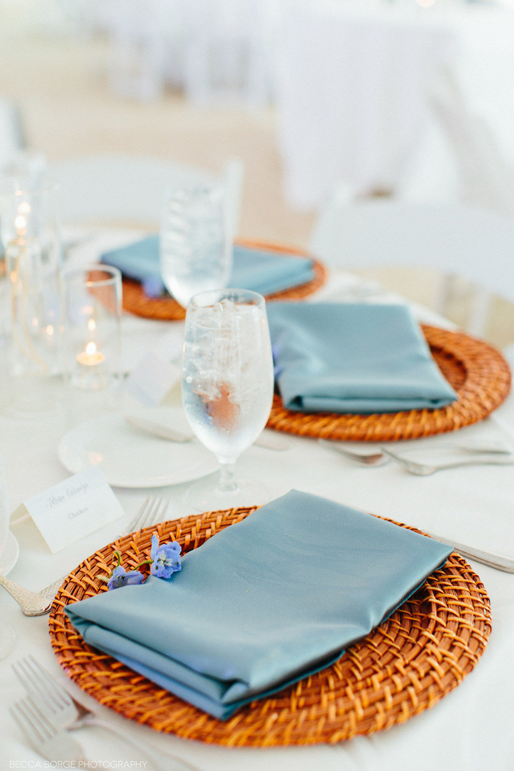 blue nad wicker wedding reception table