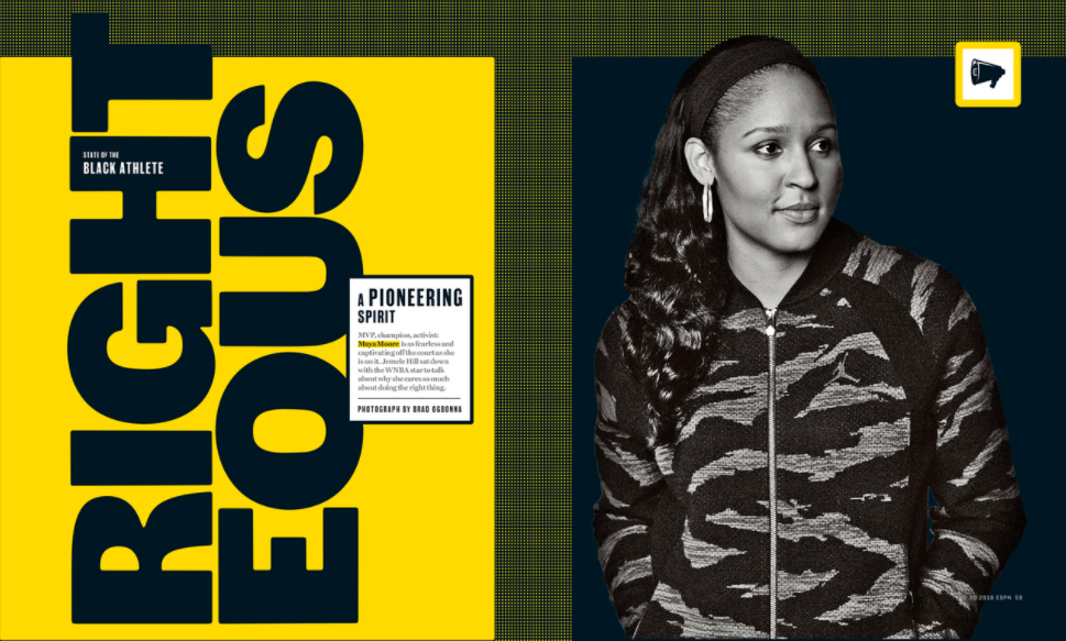 ESPN Maya Moore the state of the black athlete Black and white photo ESPN Magazine WNBA