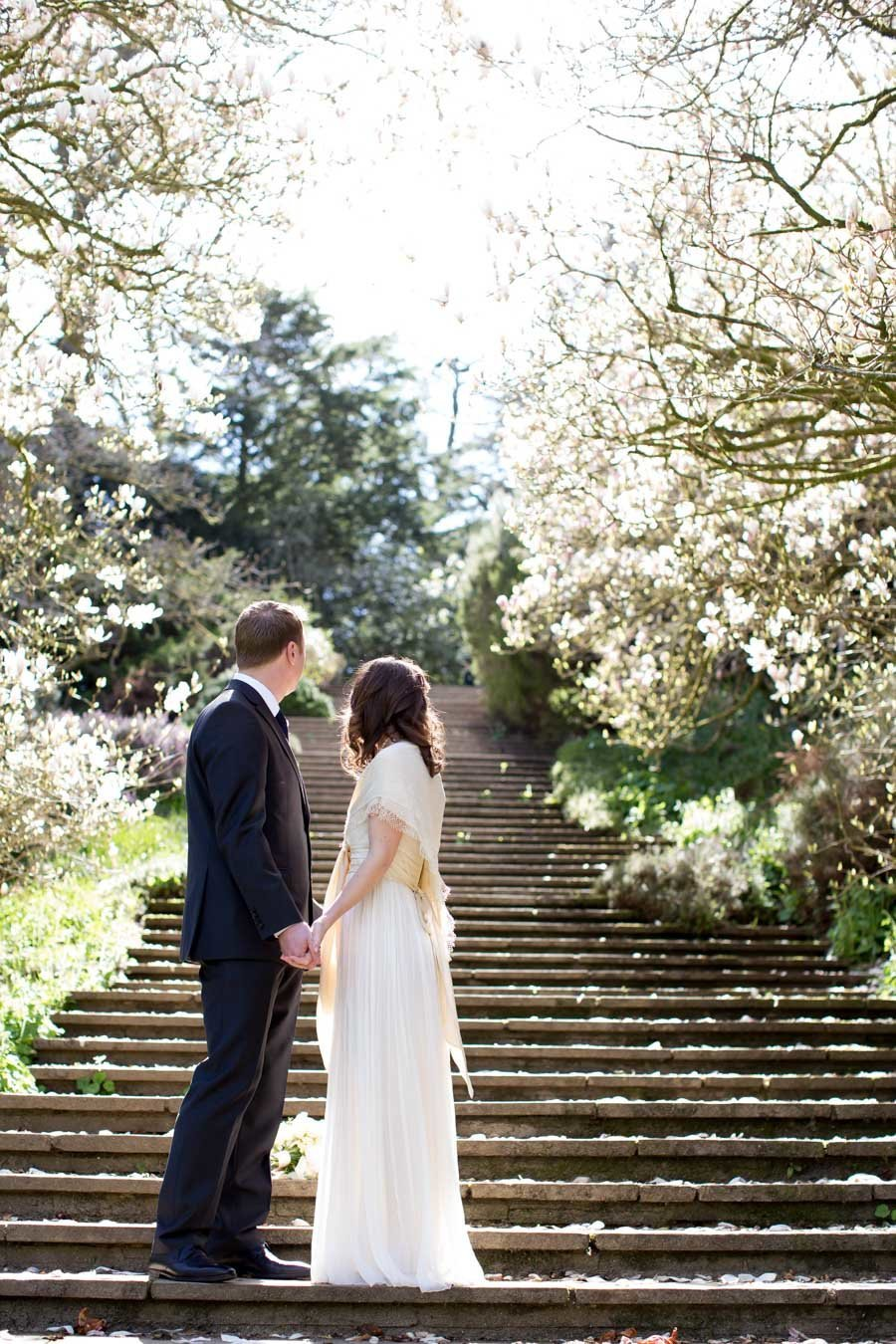 Bride and Groom in the Gardens at Dartington Hall Devon