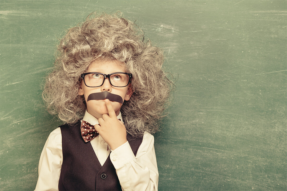 Kid dressed up as Albert Einstein for tax quote