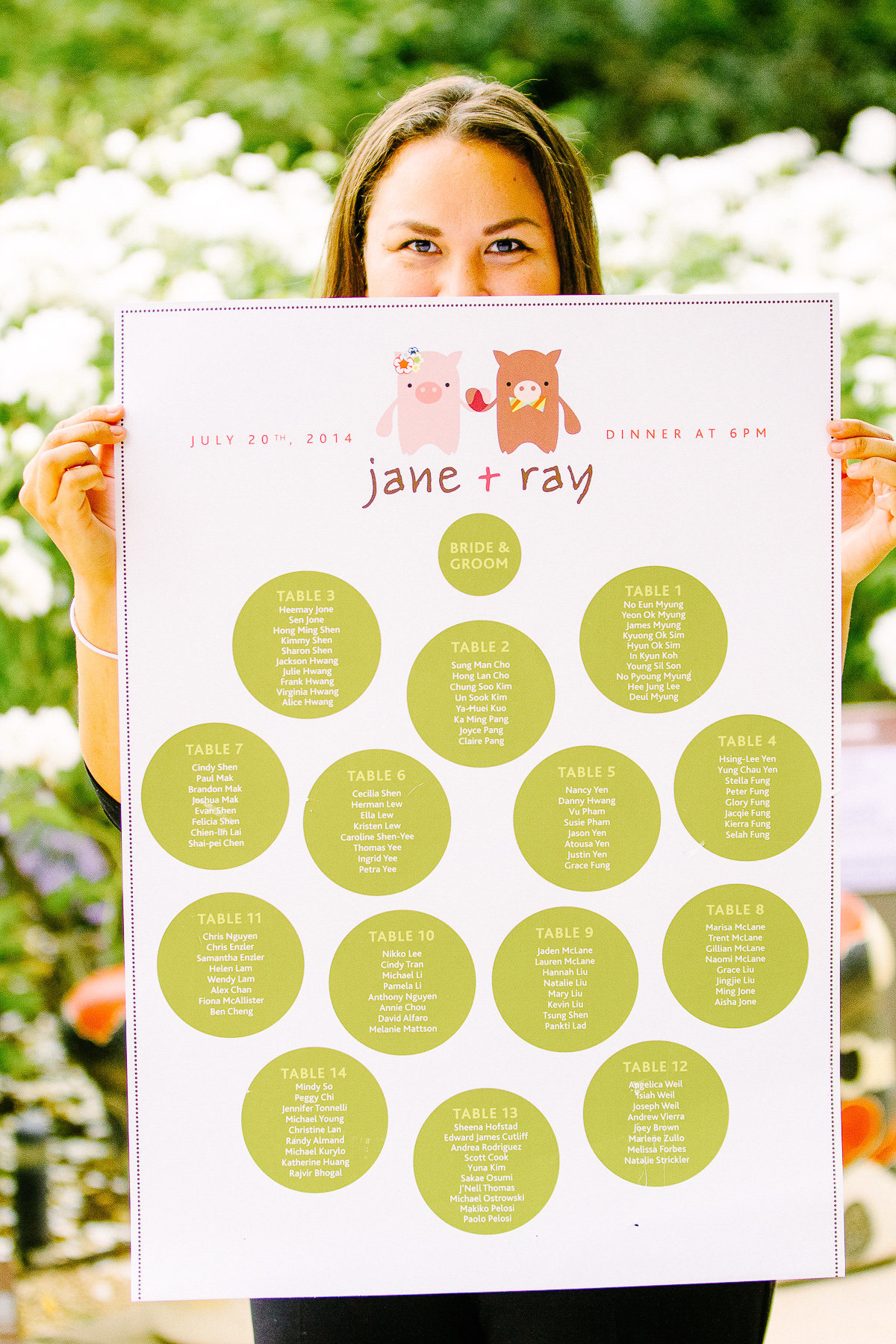 A fun seating chart at a wedding at Cornerstone Gardens in Sonoma.